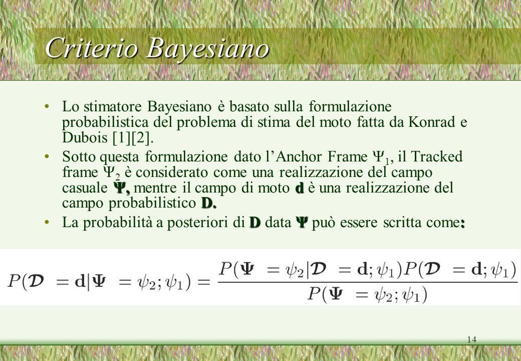Criterio Bayesiano Lo stimatore Bayesiano è basato sulla formulazione probabilistica del problema di stima del moto fatta da Konrad e Dubois [1][2].